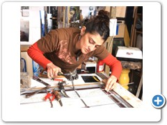 Sophie Lister-Hussain one of the country's top stain glass artistes.